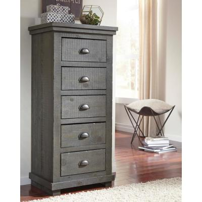 Willow 5-Drawer Distressed Dark Gray Lingerie Chest of Drawers