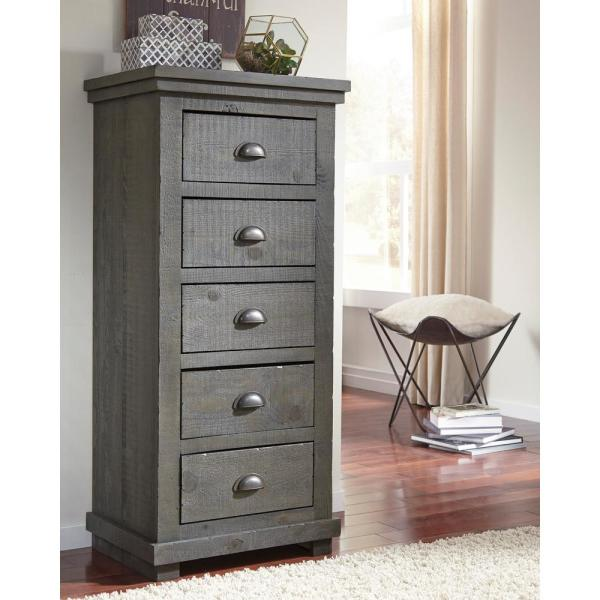Progressive Furniture Willow 5-Drawer Distressed Dark Gray Lingerie Chest P600-13