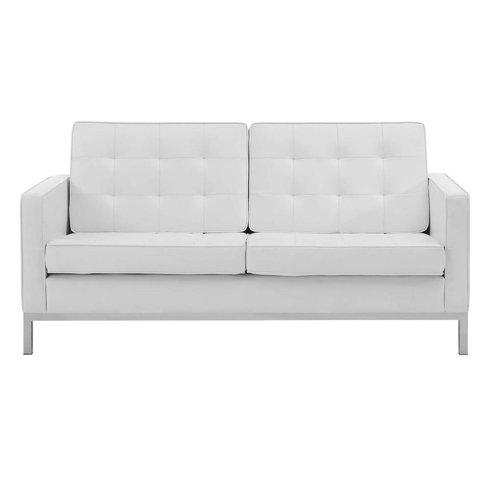 Loft Silver White Tufted Button Upholstered Faux Leather Loveseat