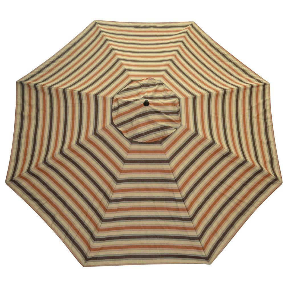 Plantation Patterns 11 ft. Patio Umbrella in Nutmeg Stripe-DISCONTINUED