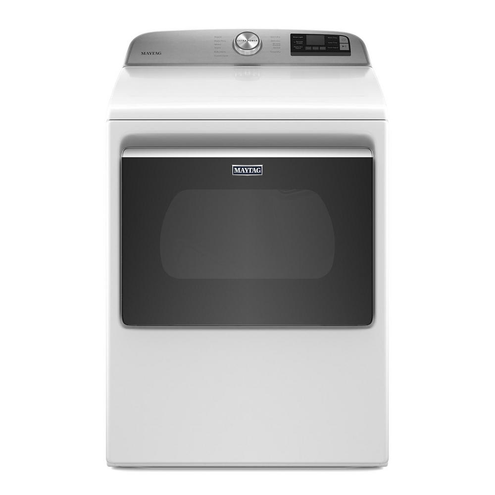 Maytag 7.4 cu. ft. 120/240-Volt Smart Capable White Electric Dryer with Hamper Door