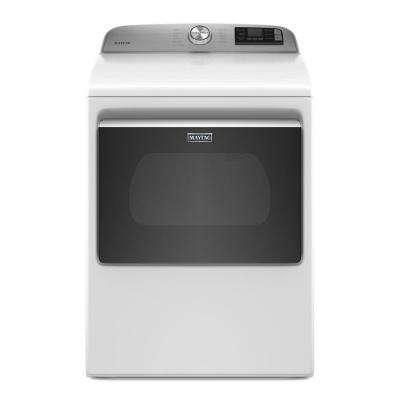 7.4 cu. ft. 240-Volt Smart Capable White Electric Dryer with Hamper Door and Advanced Moisture Sensing