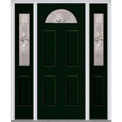 64 in. x 80 in. Heirloom Master Right-Hand 1/4 Lite Classic Painted Fiberglass Smooth Prehung Front Door with Sidelites