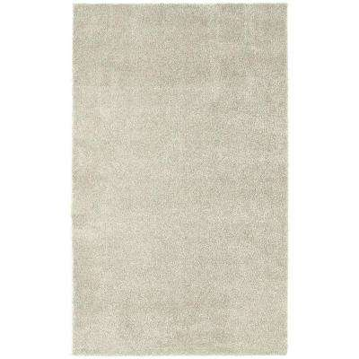 Washable Room Size Bathroom Carpet Ivory 5 ft. x 8 ft. Area Rug