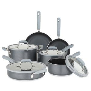 Chopped 10-Piece Gray Cookware Set with Silicone Strainer Lids by Chopped