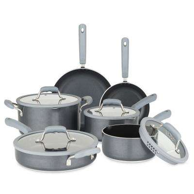 10-Piece Gray Cookware Set with Silicone Strainer Lids