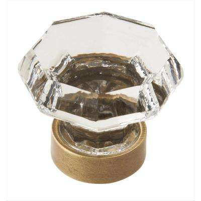 Traditional Classics 1-5/16 in (33 mm) Diameter Clear/Gilded Bronze Cabinet Knob