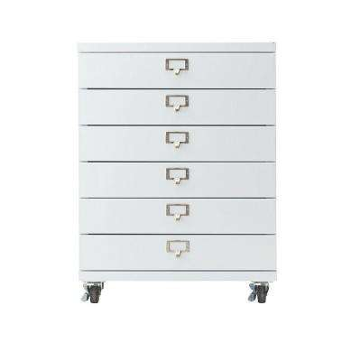 Becker 6-Drawer Metal Cart in White