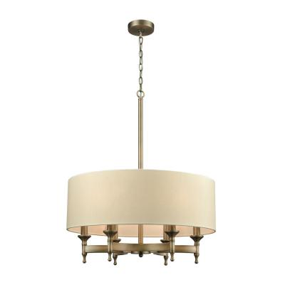 Pembroke 6-Light Brushed Antique Brass Chandelier with Light Tan Fabric Shade