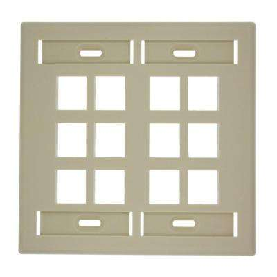 2-Gang QuickPort Standard Size 12-Port Wallplate with ID Windows, Ivory
