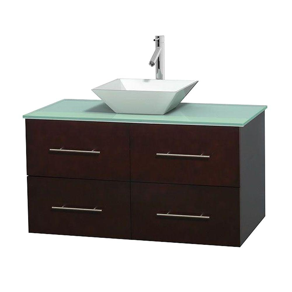 Wyndham Collection Centra 42 in. Vanity in Espresso with Glass Vanity Top in Green and Porcelain Sink