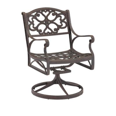 Sanibel Rust Bronze Swivel Rocking Cast Aluminum Outdoor Dining Chair