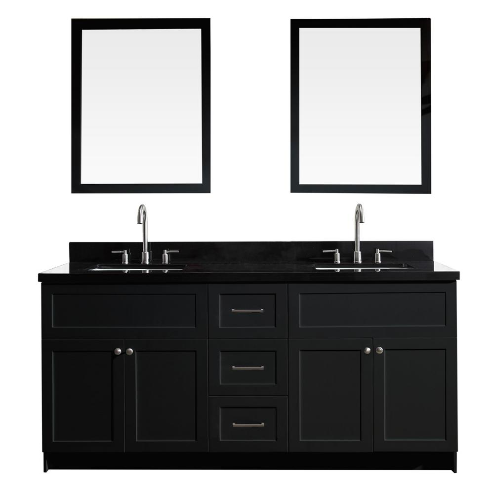 Pleasant Ariel Hamlet 73 In Bath Vanity In Black With Granite Vanity Top In Absolute Black With White Basins And Mirrors Download Free Architecture Designs Embacsunscenecom
