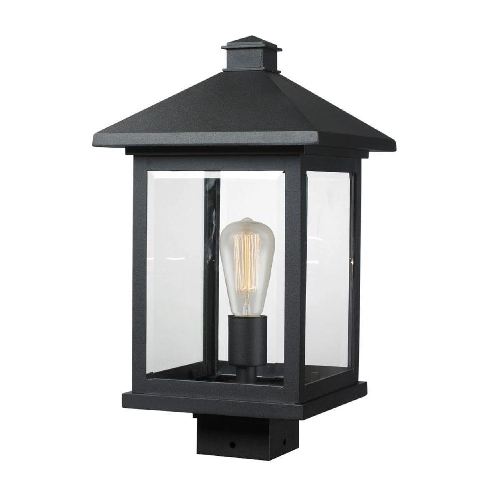 Malone 1-Light Outdoor Black Post Mount