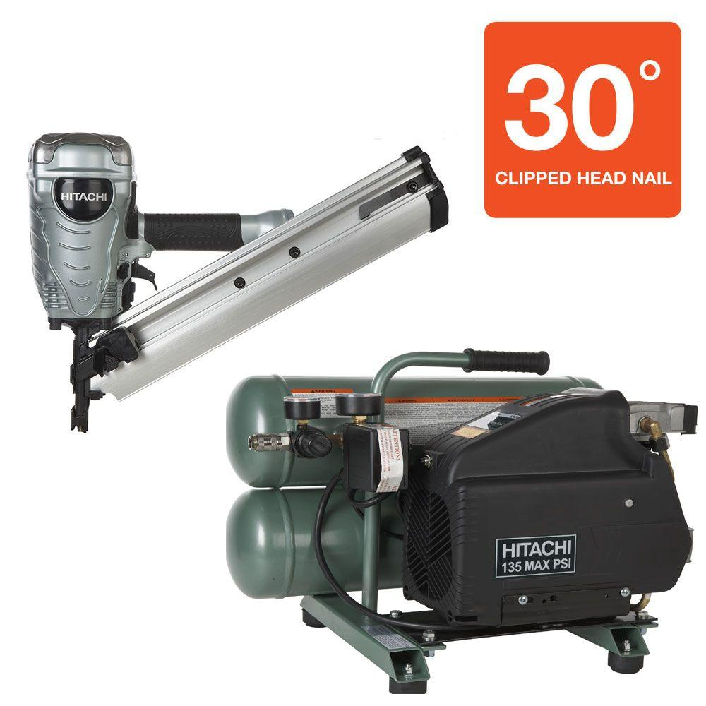 Hitachi 2-Piece 3.5 in. Paper Clipped-Head Framing Nailer and 4 Gal. Portable Twin Stack Compressor Kit