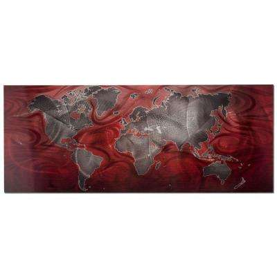 Brevium 19 in. x 48 in. Red and Pewter Land and Sea Metal Wall Art