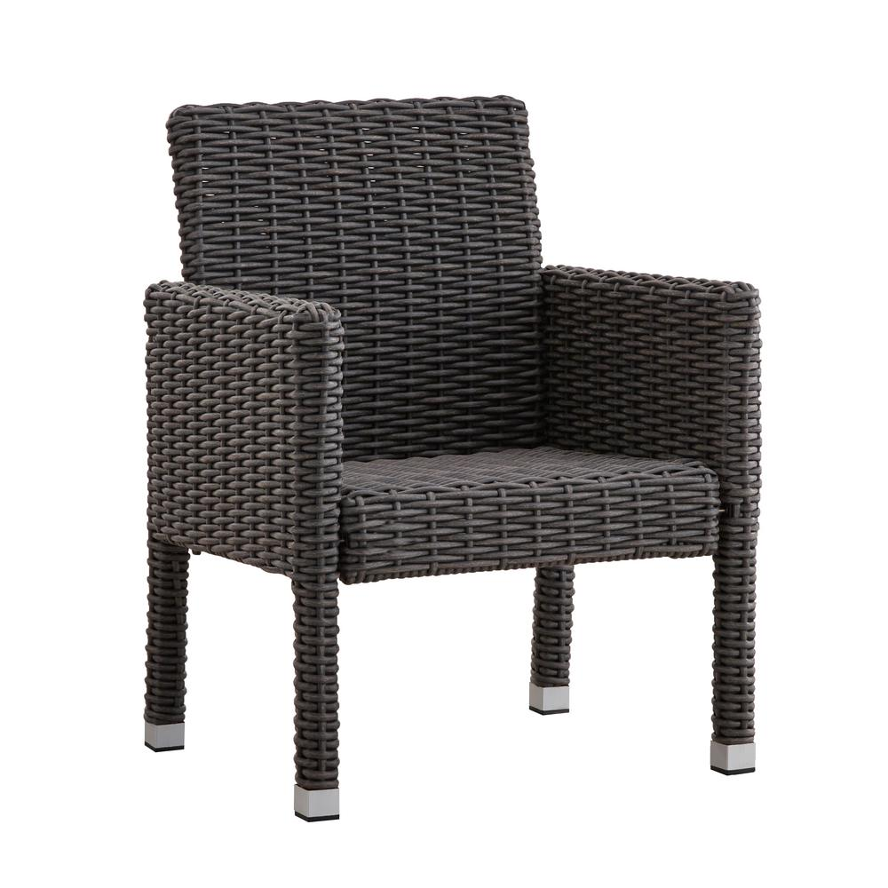Camari Charcoal Arm Wicker Outdoor Dining Chair (Set of 2)