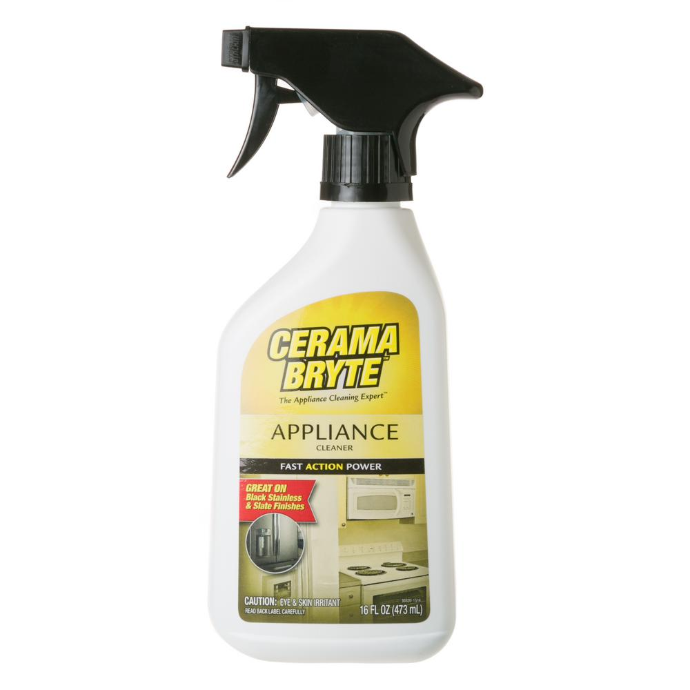 Cerama Bryte Appliance Cleaner Safely and quickly clean your kitchen appliances with an extra-strength solution. That is safe to use on today's high-gloss finishes. Cleans and shines in one easy step inside and out to keep appliances looking like new.