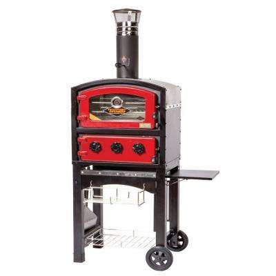 Wood and Charcoal Fired Oven and Smoker in Red