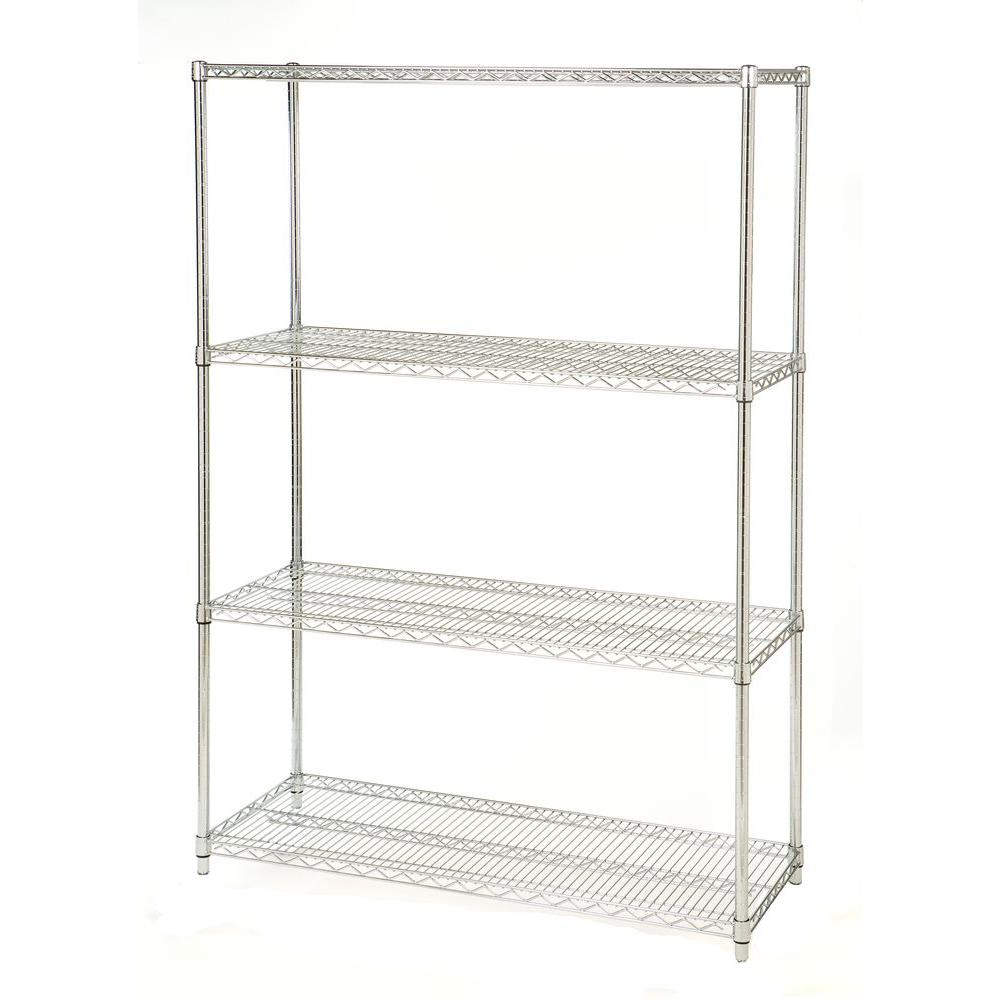 Seville Classics 4-Tier 48 in. W x 72 in. H x 18 in. D Commercial Steel Shelving Unit System