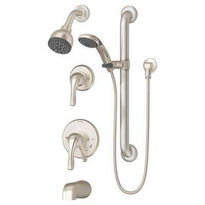 Origins 2-Handle 1-Spray Tub and Shower Faucet with Hand Shower and Integral Stops in Satin Nickel