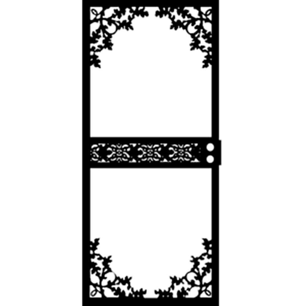 Grisham 36 in. x 80 in. 464 Series Black Garden View Security Door