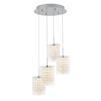 Crystal Cube 17-Watt Integrated LED Chrome Pendant with Glass Shade