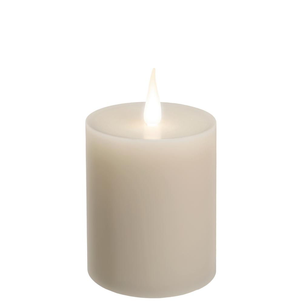 4 in. Ivory Wax Battery Operated LED Candle with White Warm