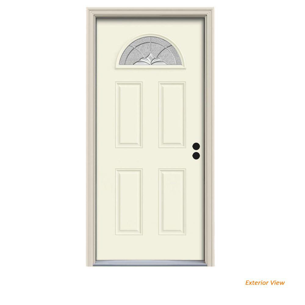 36 in. x 80 in. Fan Lite Langford Vanilla Painted Steel Prehung Left-Hand Inswing Front Door w/Brickmould