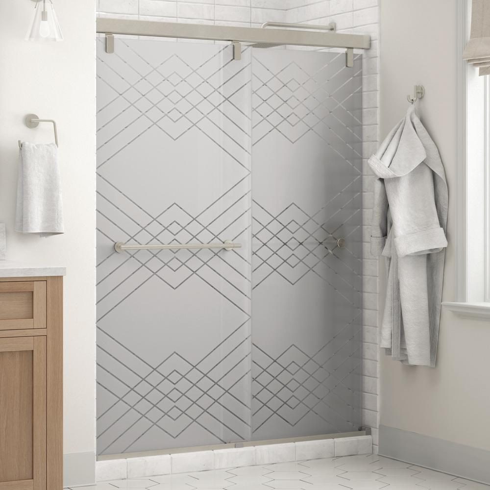 Crestfield 60 in. x 71-1/2 in. Semi-Frameless Mod Sliding Shower Door