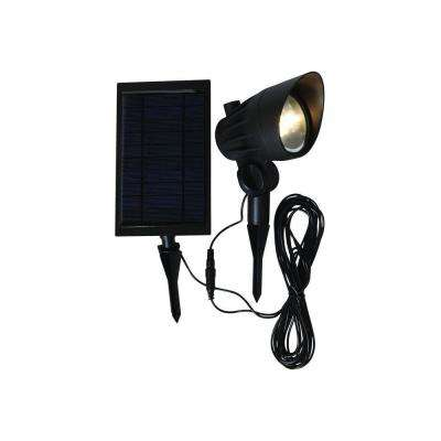 Solar Black Outdoor Integrated LED 3000K 70-Lumens Landscape Spot Light with Solar Panel and Wire