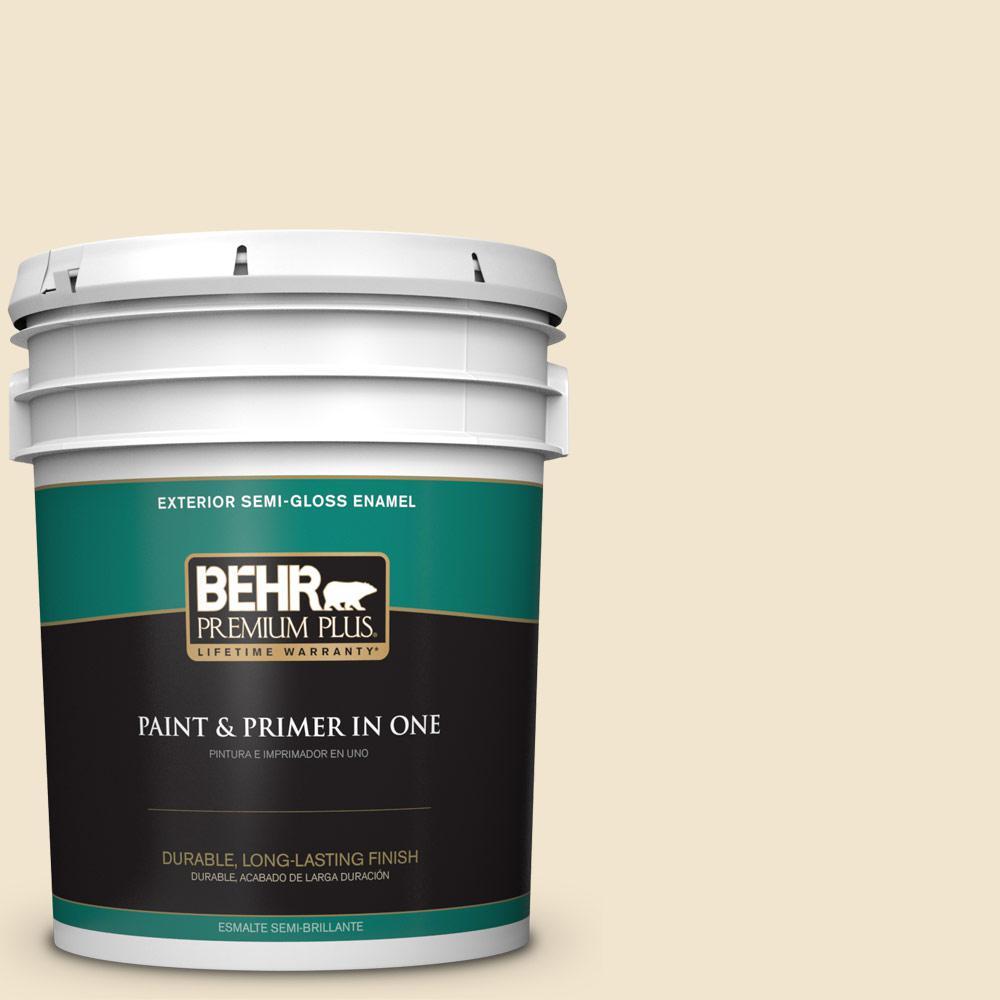 5 gal. #HDC-NT-11A Warm Marshmallow Semi-Gloss Enamel Exterior Paint