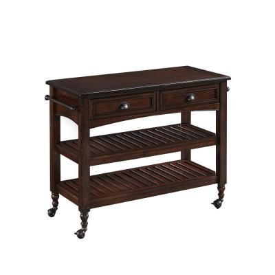 Country Comfort Aged Bourbon Kitchen Cart With Wood Top