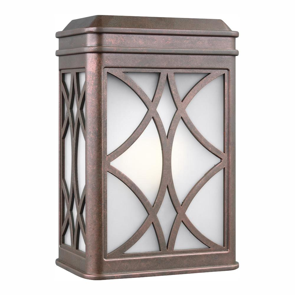 Sea Gull Lighting Melito Small 1-Light Weathered Copper Outdoor 9 in. Wall Mount Lantern with LED Bulb