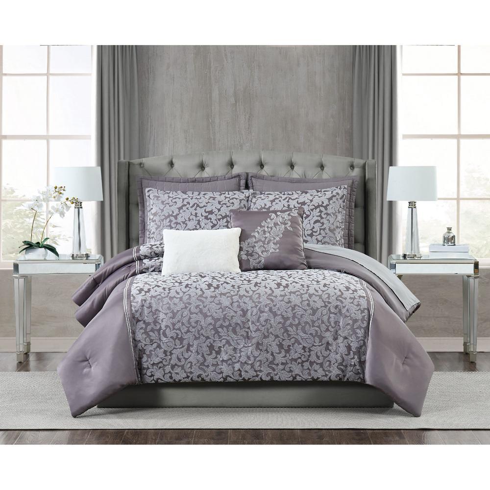 FIFTH AVENUE LUX Westbury 7 Piece Grey Violet King Comforter Set