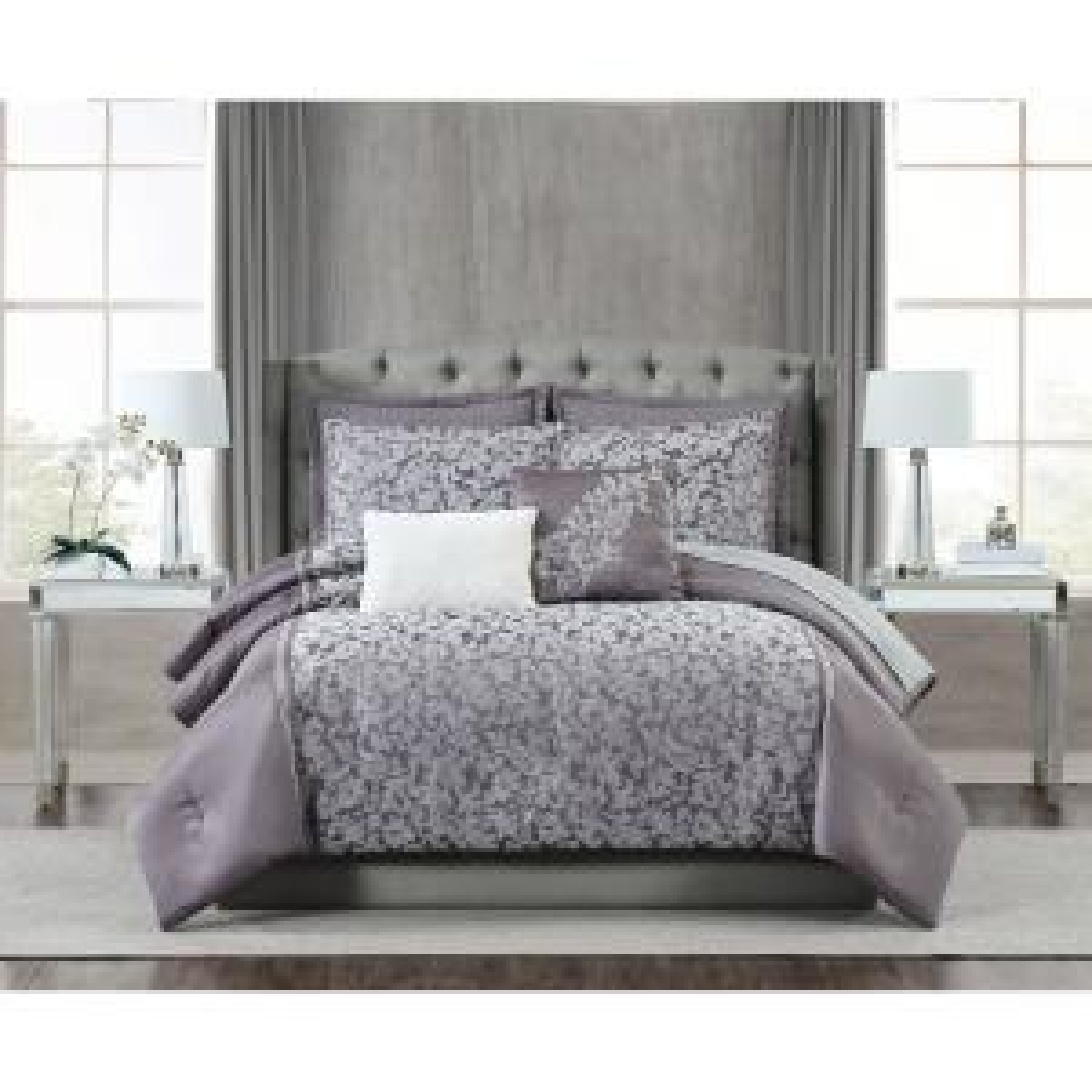 Fifth Avenue Lux Westbury 7 Piece Grey Violet Queen Comforter Set Cs3214qn7 1300 The Home Depot