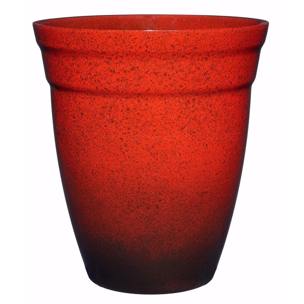 12 in. Lava Red Allaire Resin Planter