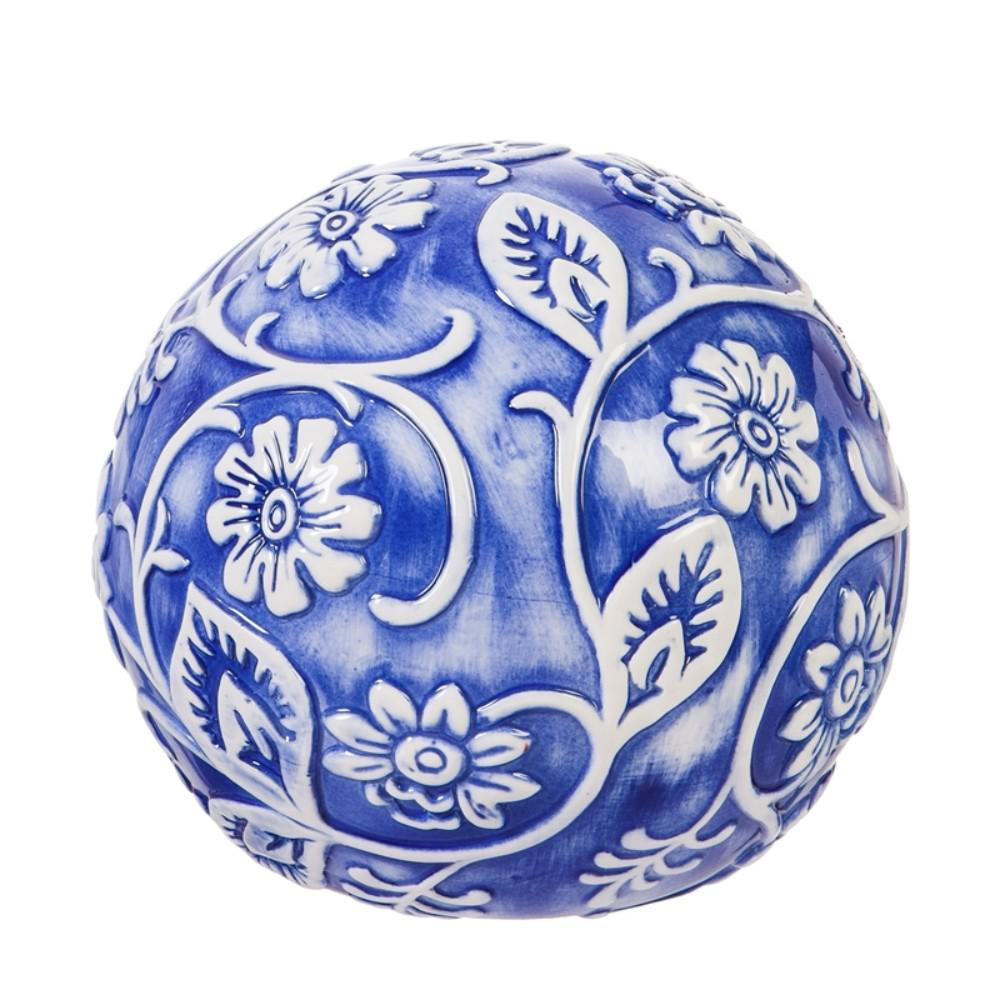 Evergreen Garden Embossed Ceramic Blue and White Floral Decorative Orb This gazing ball will look great in your home or garden. Made of ceramic, it is safe for indoor or outdoor use. Approximately 10 in. Dia.