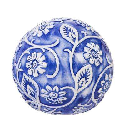 Embossed Ceramic Blue and White Floral Decorative Orb