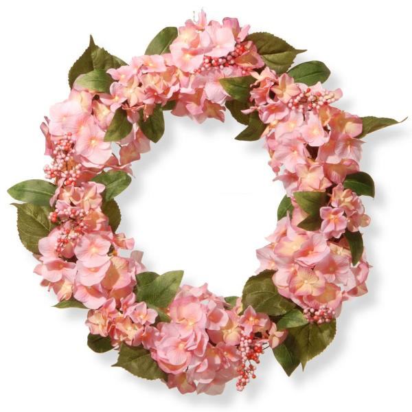 National Tree Company 24 in. Pink Hydrangea Wreath RAS-SN191416-P1