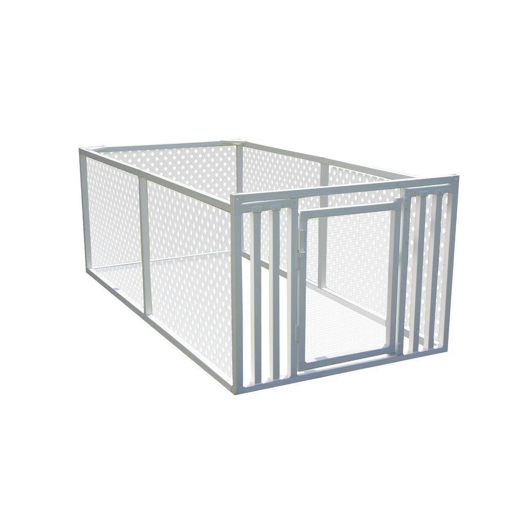 3 ft. x 4 ft. x 8 ft. White Modular Vinyl Pet/Garden Enclosure with Lattice Panels