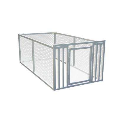 3 ft. x 4 ft. x 8 ft. White Modular Vinyl Pet/Garden Enclosure with Lattice Panels