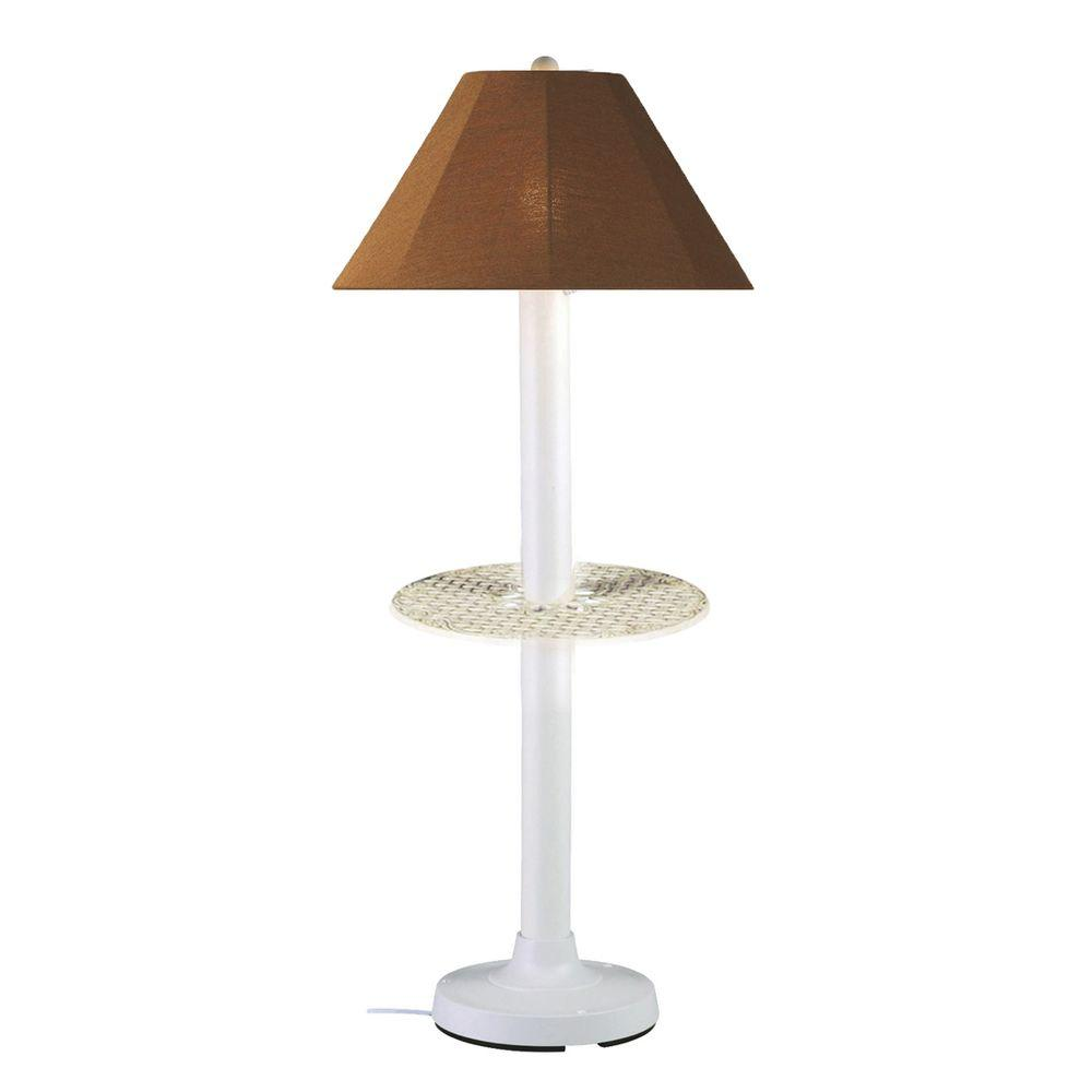 Catalina 63.5 in. White Outdoor Floor Lamp with Tray Table and