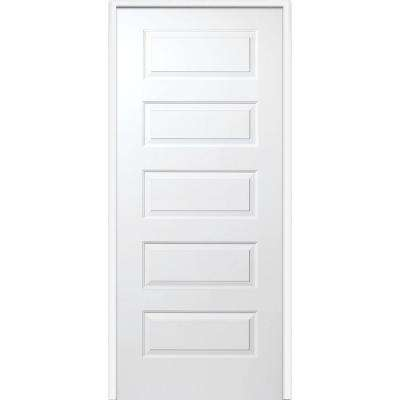 30 in. x 80 in. Smooth Rockport Left-Hand Solid Core Primed Molded Composite Single Prehung Interior Door