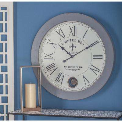 31 in. Rustic Wooden Round Wall Clock