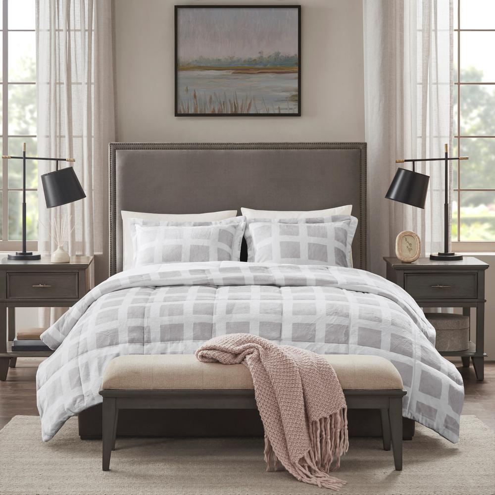 Mills 3-Piece Grey King Plush Comforter Set