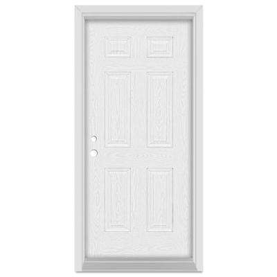 32 in. x 80 in. Infinity Right-Hand Inswing 6 Panel Finished Fiberglass Oak Woodgrain Prehung Front Door