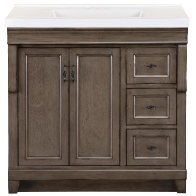 Naples 37 in. W x 22 in. D Bath Vanity in Distressed Grey with Cultured Marble Vanity Top in White with White Sink