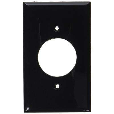 1-Gang 1 Single Receptacle, Standard Size Nylon Wall Plate, Black