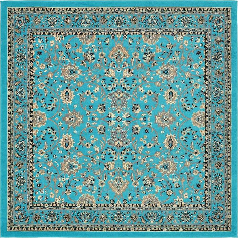 Unique Loom Kashan Turquoise 8 Ft. X 8 Ft. Square Area Rug